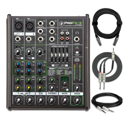 Mackie ProFX4v2 4-Ch Professional Effects Mixer with Cables Bundle