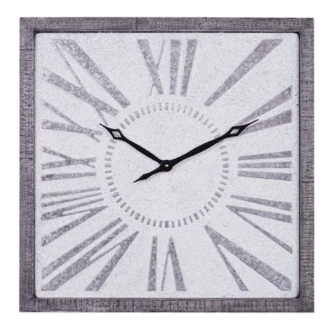 Metal Wall Clock in Grey and Black Finish w Modern Vintage Style - 25 x 2 x 25