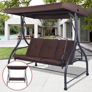 Costway Converting Outdoor Swing Canopy Hammock 3 Seats Patio Deck Furniture Brown