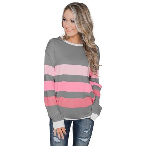 Cali Chic Women's Sweatshirt Celebrity Gray Color Block Striped Pullover Top