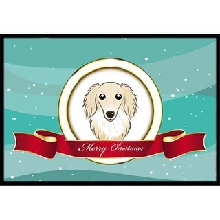 Carolines Treasures BB1522MAT Longhair Creme Dachshund Merry Christmas Indoor & Outdoor Mat 18 x 27 in.
