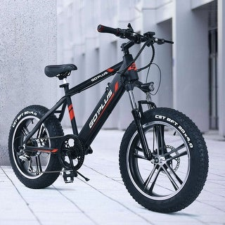 Goplus  20'' Electric Aluminum+Fat Tire Bike Snow Mountain Bicycle w Removable Lithium Battery 48V