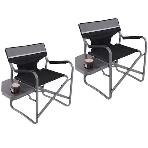 Gymax 2PC Folding Director Chair W/Side Table Cup Holder