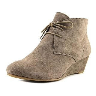 Nicole Short Wave Women Open Toe Suede Gray Wedge Heel