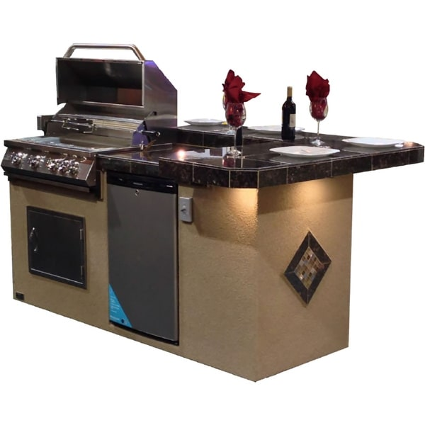 "KoKoMo Grills 7'6"" St. John With High Bar Outdoor Kitchen BBQ Island. Opens flyout."