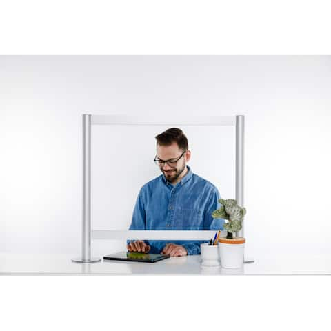 Sneeze Guard Clear Acrylic Plexiglass Shield with Aluminum Frame for Counters - Protective Barrier Against Coughing & Sneezing