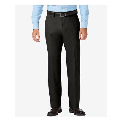 HAGGAR Mens Black Flat Front, Stretch, Classic Fit Stretch Pants 44 Waist - 44 Waist