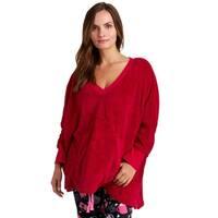 Hue Sleepwear Women's Solid V-Neck Fleece Poncho Top - Cupid