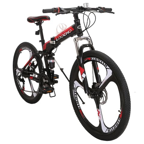 COZAYH 21 Speed Foldable Mountain Bike MTB 26 Inches 3-Spoke Wheel Dual Suspension Dual Disc Brake