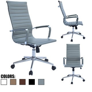 2xhome Gray Executive Ergonomic High Back Modern Office Chair Ribbed PU Leather Swivel for Manager Conference Computer Room