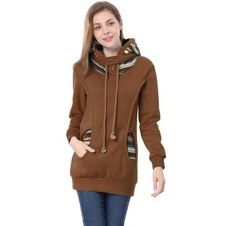 Unique Bargains Women's Long Sleeve Drawstring Hoodie Coffee (Size L / 12)