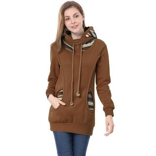 Unique Bargains Women's Long Sleeve Drawstring Hoodie Coffee (Size S /4)