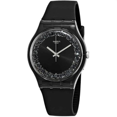 Swatch Women's SUOB156 'Darksparkles' Black Silicone Watch