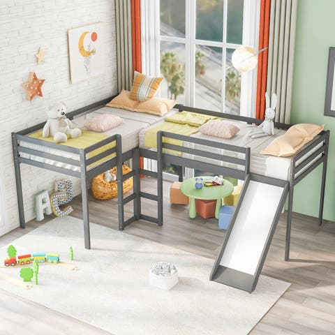AOOLIVE Twin Size Wood L-Shaped Loft Bed with Ladders and Slide,Gray