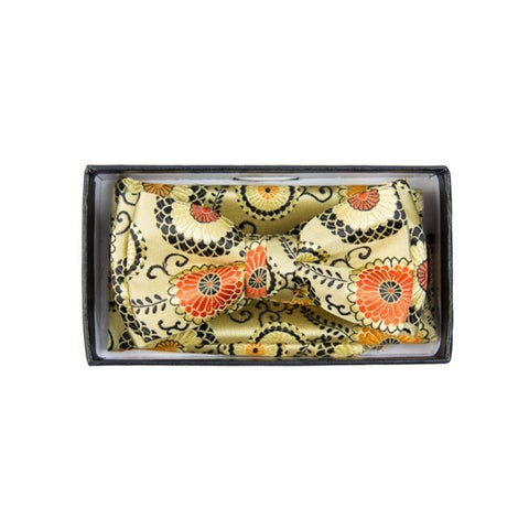 Boy's Yellow And Orange Paisley Pre-tied Adjustable Bow Tie With Hanky - One size