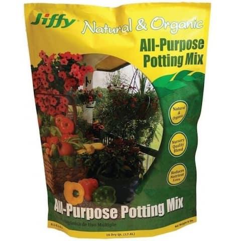 Jiffy G416 Natural & Organic All-Purpose Potting Mix, 16 Quart
