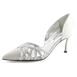 Nina Teagan Women Pointed Toe Canvas Silver Heels