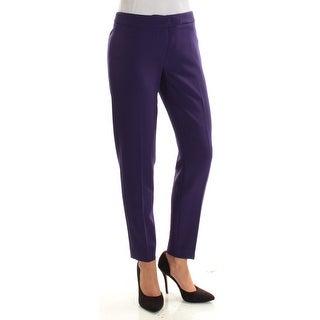 ANNE KLEIN $89 Womens New 1656 Purple Flat Front Straight leg Pants 0 B+B