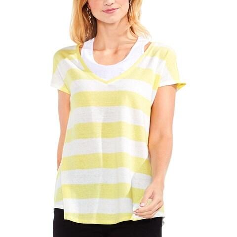 Vince Camuto Womens T-Shirt Linen Striped