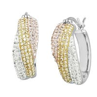 Crystaluxe Hoop Earrings with Rose, Golden & White Swarovski elements Crystals in Sterling Silver