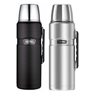 Thermos Stainless King 68 Oz Vacuum Insulated Bottle (Black & Silver, 2 Pack)