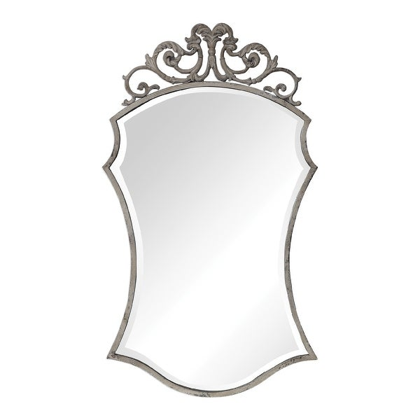 """43"""" White Ornate Hanging Wall Mirror - N/A"""