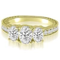 2.00 cttw. 14K Yellow Gold Trellis 3-Stone Oval Round Diamond Engagement Ring
