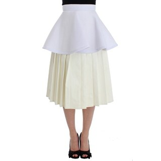 KAALE SUKTAE KAALE SUKTAE White Peplum A-Line Straight Pleated Skirt
