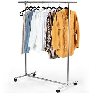 Gymax Garment Rack Clothing Rack Stainless Steel Heavy Duty Hanging Rail with Wheels - as pic