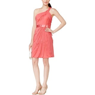 Adrianna Papell Womens Cocktail Dress Tiered One Shoulder