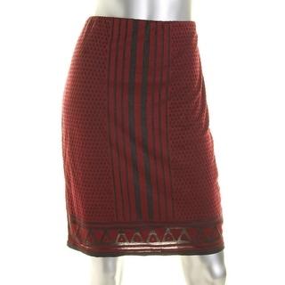 Studio M Womens Pencil Skirt Stretch Geometric