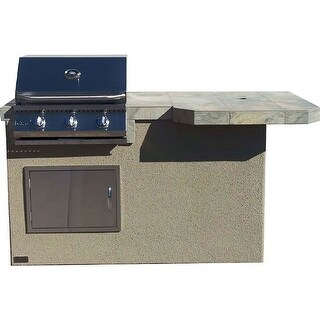 "6' Mini Maui With 33"" Square Bar Top Outdoor Kitchen BBQ Island Grill"