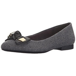 Bella Vita Womens Ozark Flannel Leather Bow Ballet Flats
