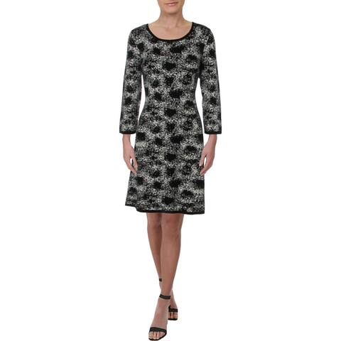 Nine West Womens Wear to Work Dress Printed Office - Black/Ivory - L