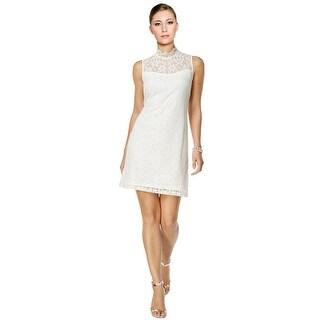 Ronni Nicole Lace Mock Neck Sheath Dress Ivory
