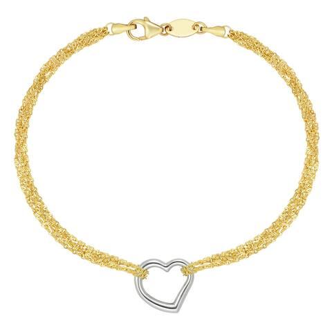 """Forever Last 10KT Gold Bonded over Silver 7"""" Heart BraceletBracelet"""