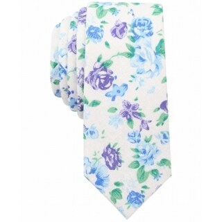 Bar III White Blue Purple Georgetown Floral Slim Men's Neck Tie