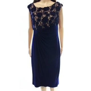 Connected Apparel NEW Blue Nude Soutache Lace 12 Sheath Gathered Dress