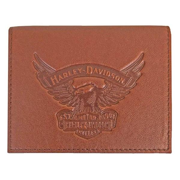 "Harley-Davidson Men's Eagle Emboss Leather Bifold Plus One Wallet EE9035L-SCOTCH - 4.5"" x 3.375"""