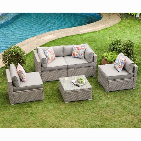 COSIEST 5-Piece Outdoor Furniture Set Wicker Sectional Sofa With Cushions, Glass Coffee Table