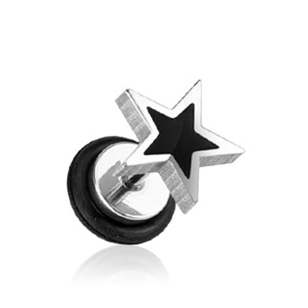 """Surgical Steel Fake Plug with Casted Black Star Top - 16GA 1/4"""" Long (Sold Individually)"""