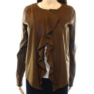 INC NEW Brown Women's Size Large L Faux Suede Ruffle Open Front Jacket