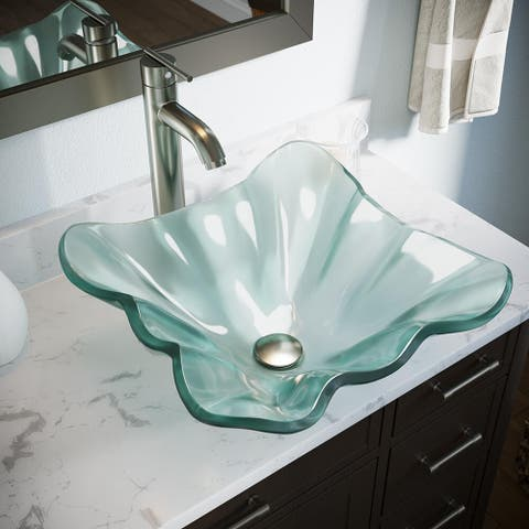 611 Frosted Glass Sink, Brushed Nickel Faucet, Sink Ring, Pop-up Drain