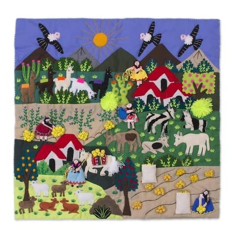 "NOVICA Handmade Andean Harvest Cotton Blend Patchwork Wall Hanging (Peru) - 19.75"" L x 19.75"" W"