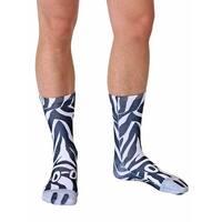 Zebra Photo Print Crew Socks - Black