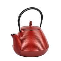 Spigo Fuji Cast Iron Enamel Infuser Teapot, Red, 67 Ounces