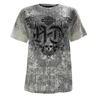 Harley-Davidson Men's Allover Obsession Premium Short Sleeve Tee, White Smoke