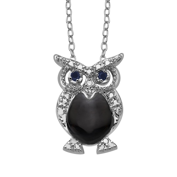 Owl Pendant with Natural Sapphires & Diamond in Sterling Silver-Plated Brass - Blue