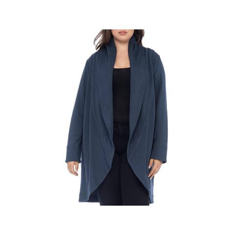 Bobeau Womens Plus Shawl-Collar Sweater Quilted Long Sleeves