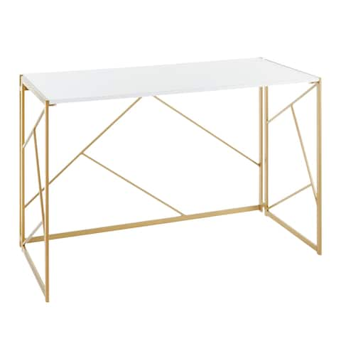 Silver Orchid Sala Desk in Gold Metal & White Wood